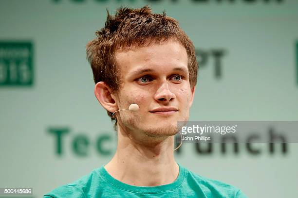 Founder of Ethereum Vitalik Buterin during TechCrunch Disrupt London 2015 Day 2 at Copper Box Arena on December 8 2015 in London England
