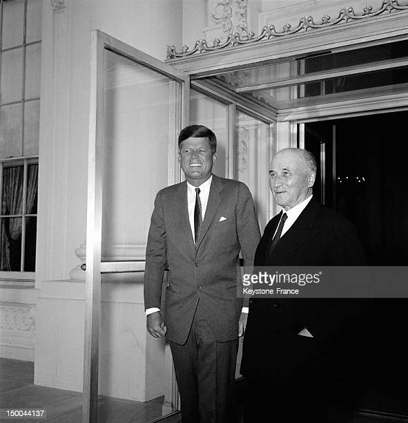 Founder of European Union Jean Monnet at the White House with US President John Fitzgerald Kennedy on June 3 1962 in Washington DC United States