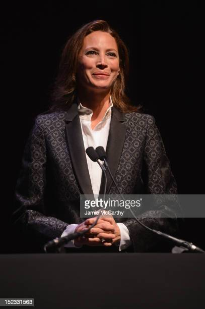 Founder of Every Mother Counts Christy Turlington speaks onstage at the Conde Nast Traveler Celebration of 'The Visionaries' and 25 Years Of Truth In...
