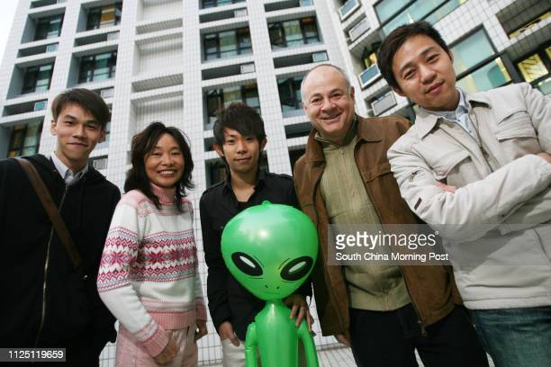Founder of Exopolitics Hong Kong Neil Gould with Chairperson and Founder of the Hong Kong UFO Club Moon Fong and member's of the club Kevin Wu...