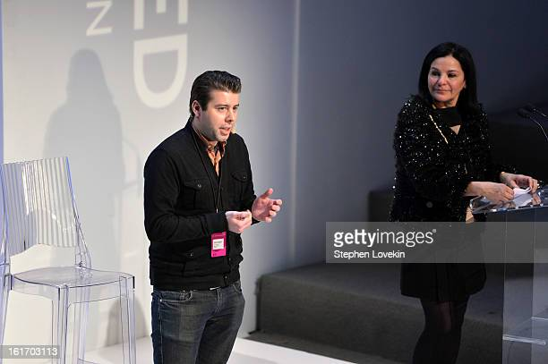 Founder of Fashion Dashboard Stephan Alber and Candy Pratts Price speak at The Decoded Fashion Forum Hackathon Finale Fall 2013 fashion show during...