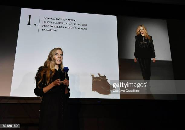 Founder of Felder Felder Cofounder of The Upcycle Project Miami Annette Felder speaks at the Miami Fashion Week Master Classes at Miami Dade College...