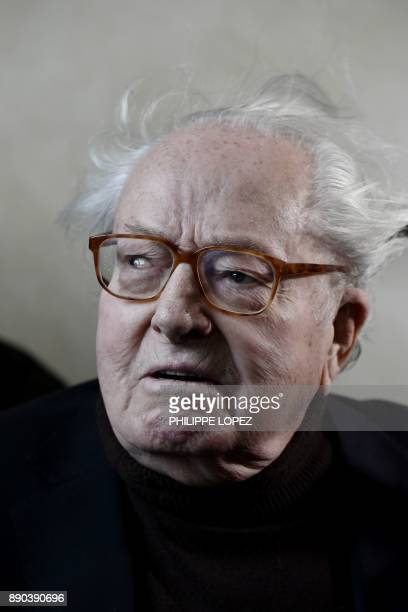 Founder of France's farright National Front JeanMarie Le Pen looks on as he arrives for the appeal trial in the civil case he filed to contest his...