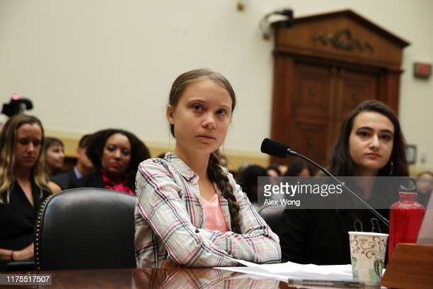 Founder of Fridays For Future Greta Thunberg and co-founder of This Is Zero Hour and plaintiff in Piper v. State of Washington Jamie Margolin testify...
