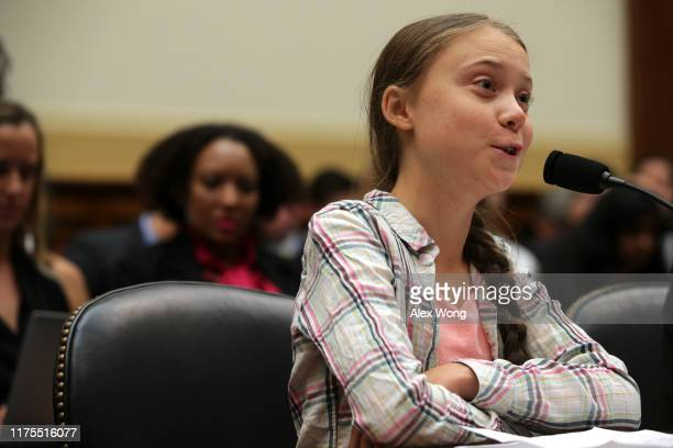 Founder of Fridays For Future Greta Thunberg testifies during a House Foreign Affairs Committee Europe Eurasia Energy and the Environment...