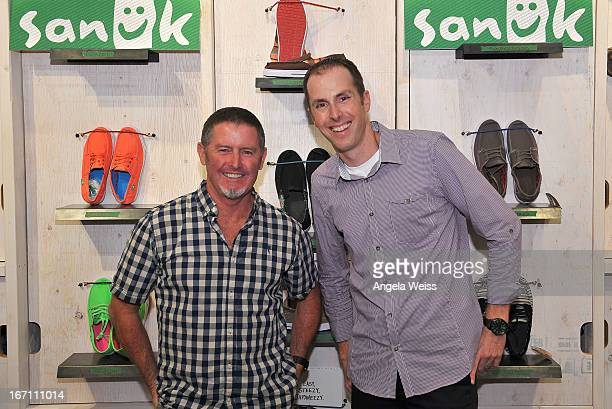 Founder of fun footwear company Sanuk Jeff Kelley and Sanuk brand president Jake Brandman attend the grand opening of Sanuk's Flagship store with a...
