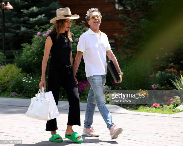 Founder of Imagine Entertainment Brian Grazer and Veronica Smiley arrives for the Allen & Company Sun Valley Conference on July 06, 2021 in Sun...