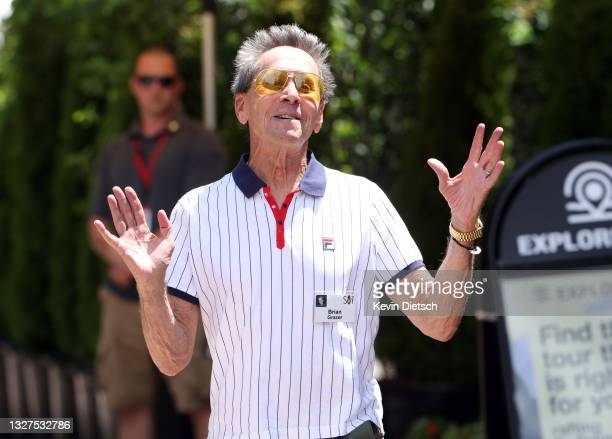 Founder of Imagine Entertainment Brian Grazer speaks to the media as he leaves lunch at the Allen & Company Sun Valley Conference on July 07, 2021 in...