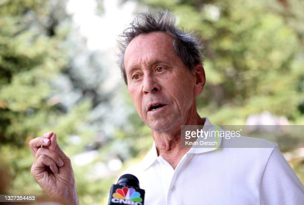 Founder of Imagine Entertainment Brian Grazer speaks to the media at the Allen & Company Sun Valley Conference on July 06, 2021 in Sun Valley, Idaho....