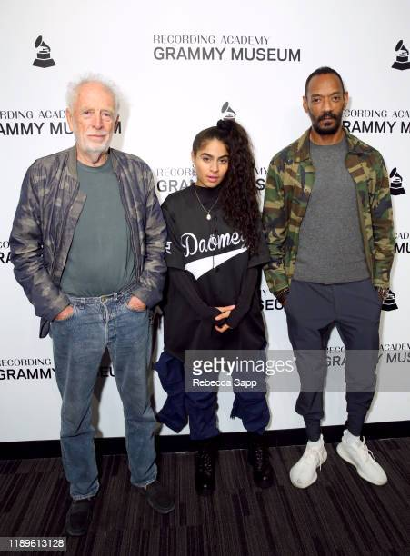 Founder of Island Records Chris Blackwell, Jessie Reyez and President of Island Records Darcus Beese attend Island Records 60th Anniversary at the...