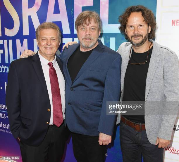 Founder of Israel Film Festival Meir Fenigstein Mark Hamill and Ram Bergman attend the 32nd Israel Film Festival In Los Angeles Sponsor Luncheon at...