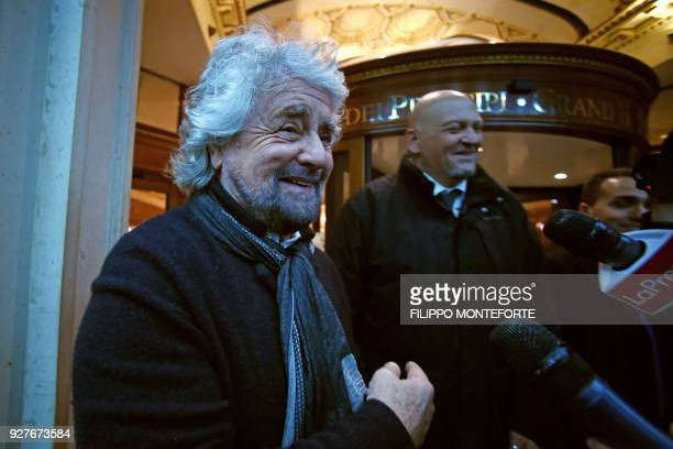 Founder of Italy's populist party Five Star Movement Beppe Grillo leaves M5S headquarters for the elections on March 5 2018 in Rome The...