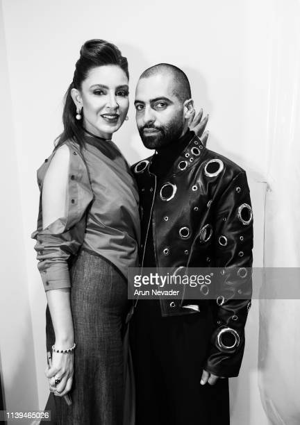 Founder of Jordan Fashion Week Shirene Rifai and designer Fadi Zumot attend Jordan Fashion Week 019 on March 30 2019 at the Kempinski Amman in Amman...
