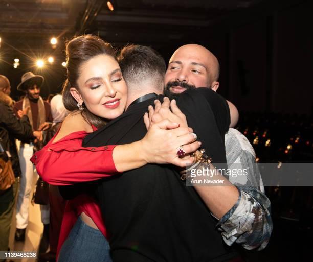 Founder of Jordan Fashion Week Shirene Rifai and Jordan Fashion Week Stylist and Runway Choreographer Alaa Sammanattend celebrate the closing of...