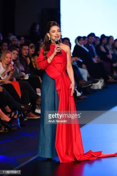 Founder of Jordan Fashion Week Shirene Rifai speaks onstage at the Jordan Fashion Week 019 on March 30 2019 at the Kempinski Amman in Amman Jordan