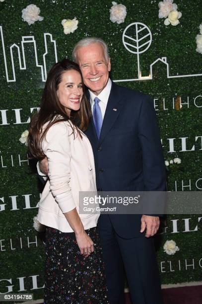 Founder of Livelihood Ashley Biden and former Vice President Joe Biden attend the Gilt x Livelihood launch event at Spring Place on February 7 2017...