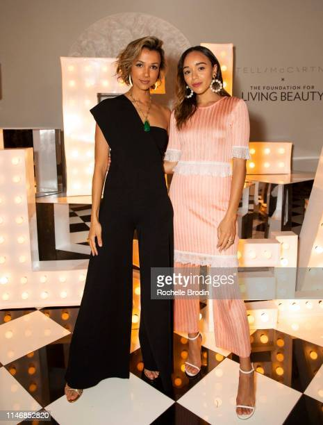 Founder of Living Beauty Amie Satchu and Ashley Madekwe attend Living Beauty's Dinner Under The Stars Hosted By Stella McCartney on May 03 2019 in...