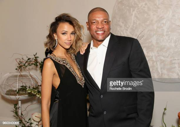 Founder of Living Beauty Amie Satchu and Basketball coach Doc Rivers attend The Foundation for Living Beauty Dinner Under the Stars on May 19 2018 in...