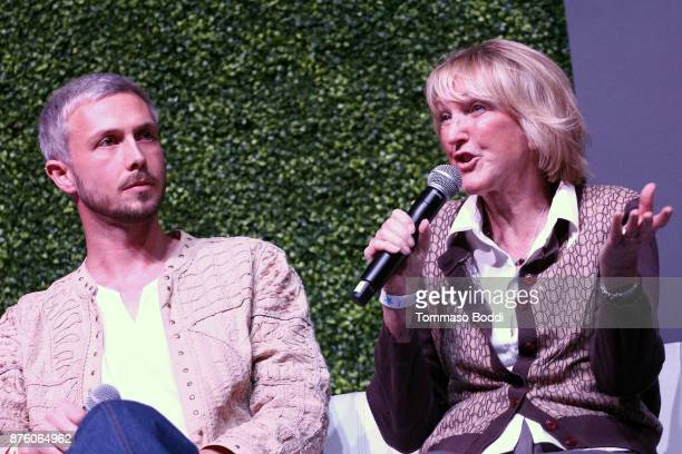 Founder of Mercy For Animals Nathan Runkle and president of peta Ingrid Newkirk speaks on stage at Circle V Festival on November 18 2017 in Los...