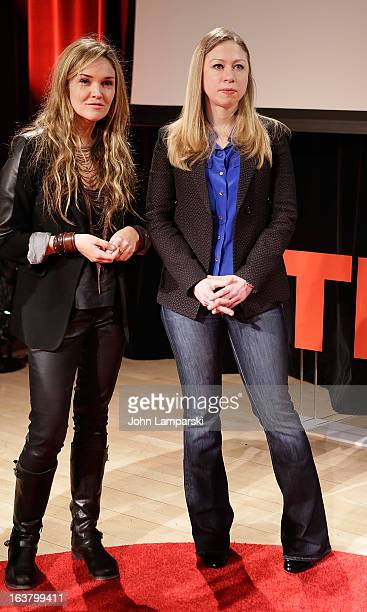 Founder of MULU Amaryllis Fox and NBC News Special correspondent Chelsea Clinton attend TEDxTeen 2013 at Scholastic Inc Headquarters on March 16 2013...