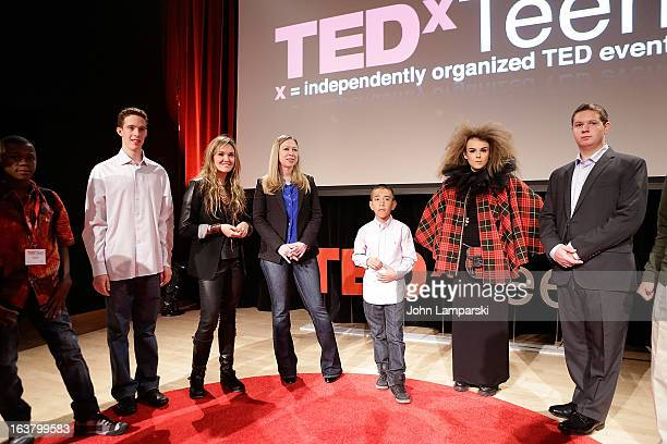 Founder of MULU Amaryllis Fox NBC News Special correspondent Chelsea Clinton Caine Monroy and vocalist Tallia Storm attend TEDxTeen 2013 at...