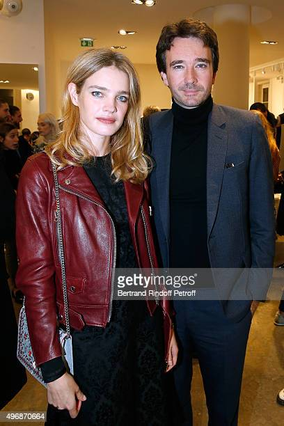 Founder of Naked Heart Foundation Model Natalia Vodianova and General manager of Berluti Antoine Arnault attend the 'Preciously Paris Bag' created to...