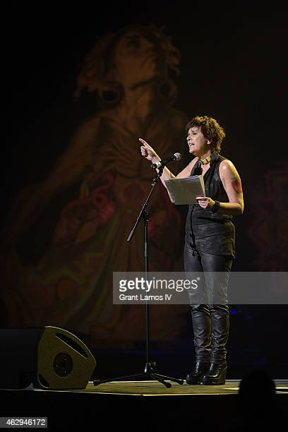 Founder of One Billion Rising Eve Ensler speaks at the 3rd Annual One Billion Rising Revolution event at Hammerstein Ballroom on February 7 2015 in...