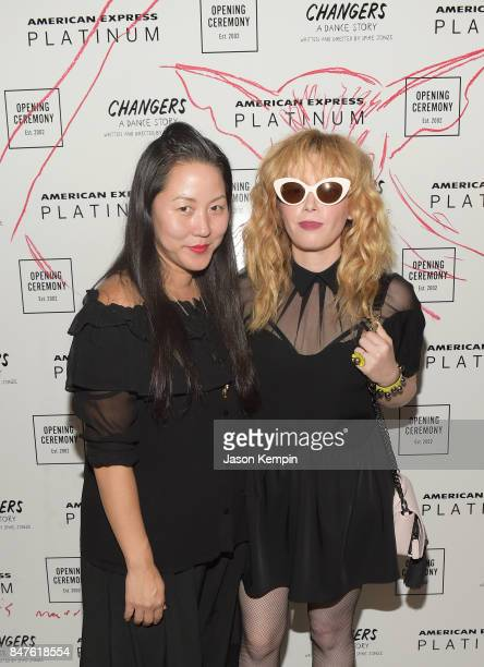 Founder of Opening Ceremony Carol Lim and actress Natasha Lyonne attend as Opening Ceremony and American Express Platinum celebrate the closing night...