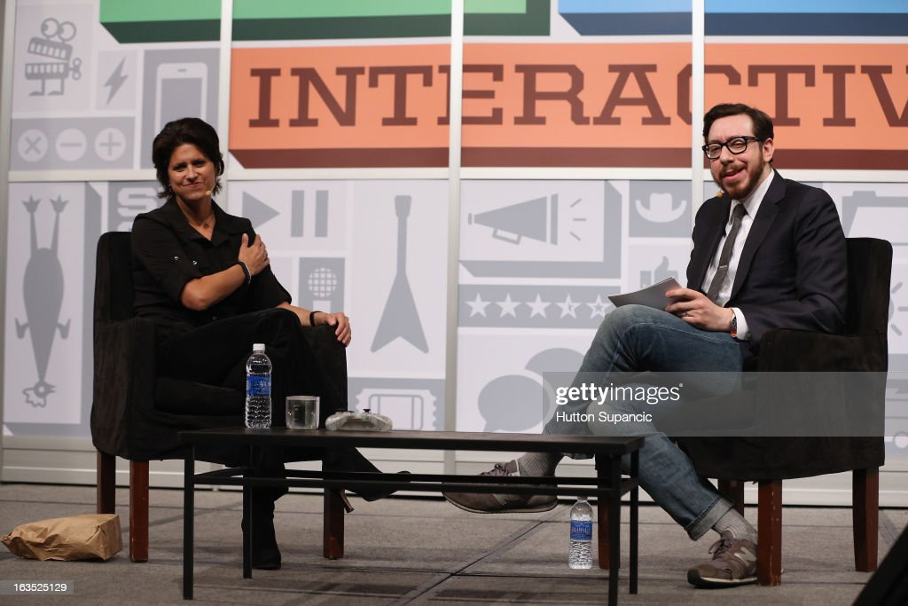Founder of OUYA Julie Uhrman and journalist Joshua Topolsky speak onstage at the Julie Uhrman + Josh Topolsky Keynote during the 2013 SXSW Music, Film + Interactive Festival at Austin Convention Center on March 11, 2013 in Austin, Texas.