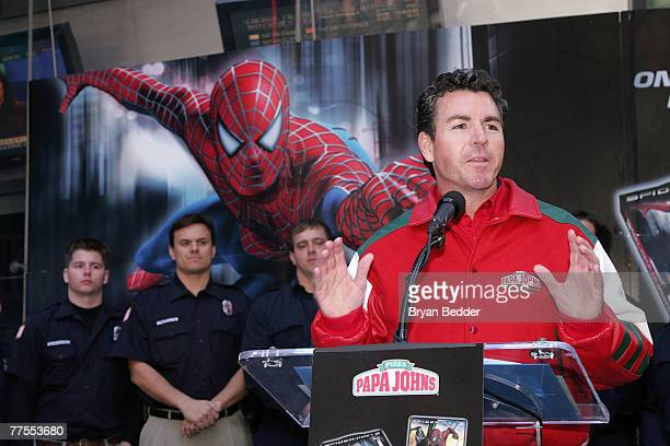 Founder of Papa John's John Schnatter speaks onstage at the SpiderMan and Papa John's Pizza's announcement of Hometown SuperHeroes in Times Square...