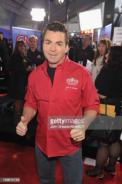 Founder of Papa John's Pizza John Schnatter arrives at the 2011 American Music Awards held at Nokia Theatre LA LIVE on November 20 2011 in Los...