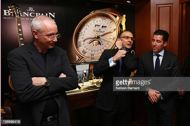 Founder of PRS Guitars Paul Reed Smith Publisher of Guitar Aficionado Greg Di Benedetto and Blancpain Brand Manager NA Adam Bossi attend Blancpain...