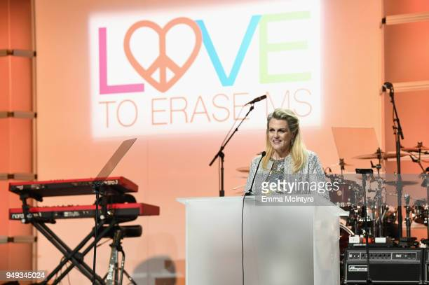 Founder of Race To Erase MS Nancy Davis speaks onstage during the 25th Annual Race To Erase MS Gala at The Beverly Hilton Hotel on April 20 2018 in...