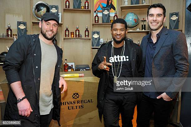 Founder of SB Projects Scooter Braun singer/songwriter Usher and founder of Pencils of Promise Adam Braun attend the Chivas Regal Ultis Hosted...