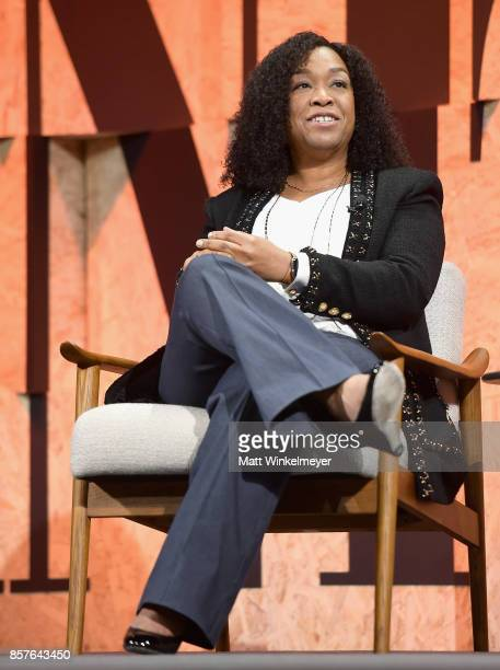 Founder of Shondaland Shonda Rhimes speaks onstage during Vanity Fair New Establishment Summit at Wallis Annenberg Center for the Performing Arts on...