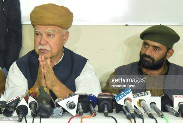 Founder of Shri Rajput Karni Sena Chief Lokendra Singh Kalvi interacts with media at Rajput Sabha Bhawan on January 24 2018 in Jaipur India Shri...