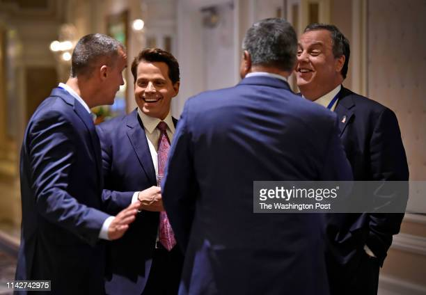 Founder of Skybridge Capital and former White House Communications Director Anthony Scaramucci has a laugh with former New Jersey Governor Chris...