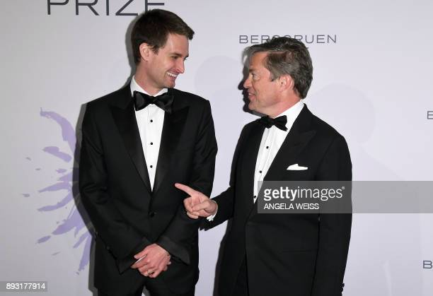Founder of Snap Inc Evan Spiegel and Nicolas Berggruen attend the 2017 Berggruen Prize Gala at the New York Public Library on December 14 2017 in New...