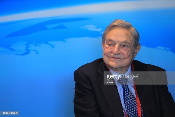 Founder of Soros Fund Management LLC George Soros attends the Boao Forum for Asia on April 8 2013 in Qionghai Hainan Province of China State and...