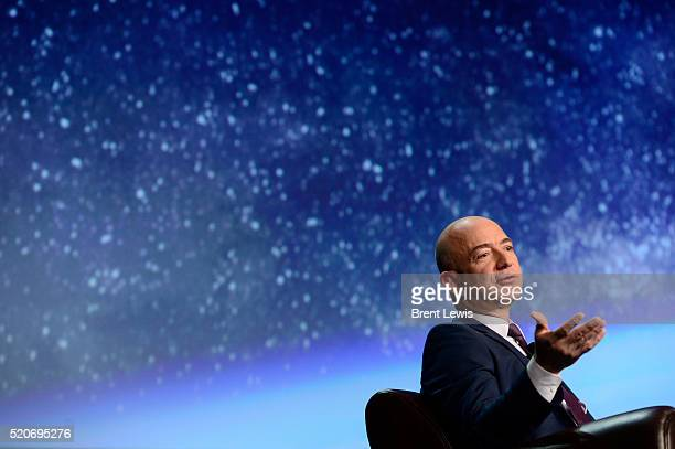 Founder of space company Blue Origin, Jeff Bezos, speaks about the future of commercial space travel during the 32nd Space Symposium on April 12,...