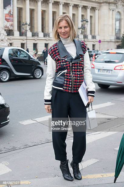 Founder of System magazine Elizabeth Von Guttman wears a Junya Watanabe jacket Chloe trousers and Tabitha Simmons shoes day 2 of Paris Haute Couture...