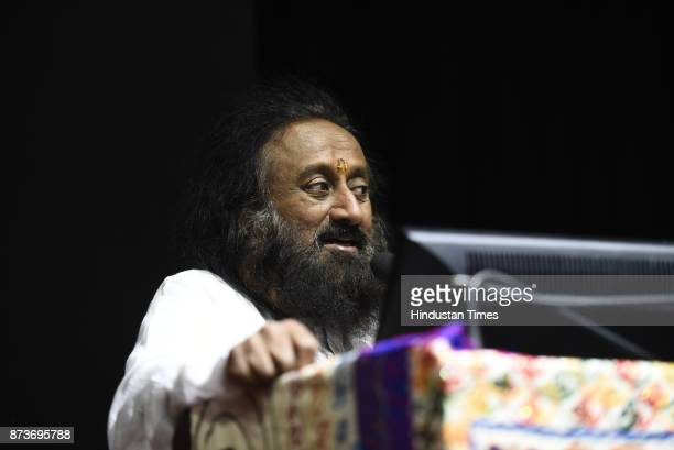 Founder of the Art of Living Foundation Sri Sri Ravi Shankar during his lecture upon Inner Peace outer Dynamism at Convention Center JNU on November...