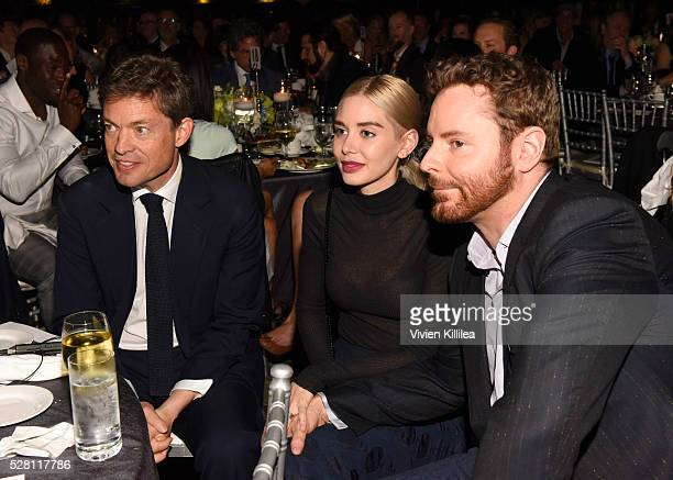 Founder of the Berggruen Institute Nicolas Berggruen Alexandra Lenas and Sean Parker attend the Berggruen Institute 5 Year Anniversary Celebration at...