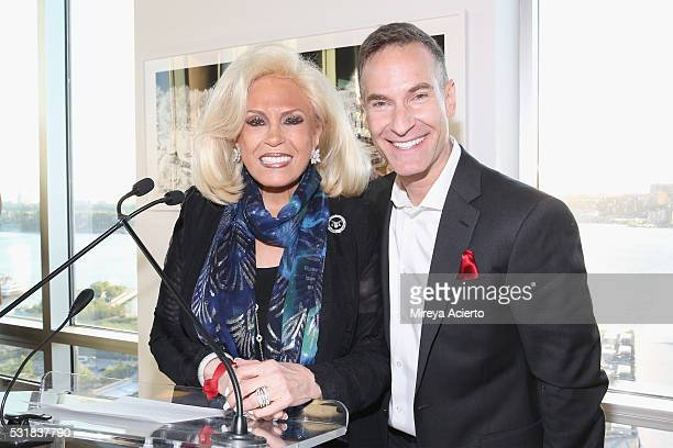 Founder of The Chosen Few Harriette Rose Katz and photographer Michael Jurick attend the Infrared Exhibition on May 16 2016 in New York New York