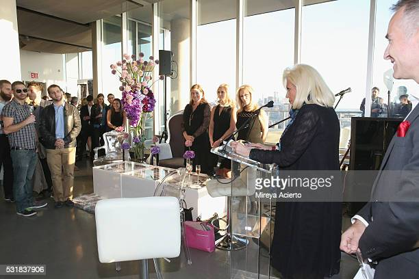Founder of The Chosen Few Harriette Rose Katz speaks during the Infrared Exhibition on May 16 2016 in New York New York
