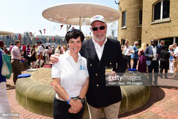 Founder of the Clipper Race Sir Robin KnoxJohnston meets Dame Ellen MacArthur before the finish of the Clipper Round the World Race Finish in London