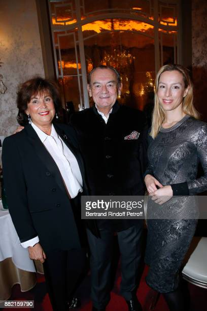 Founder of the Cooking Chefs' Club of the Heads of States Gilles Bragard standing between his wife and Adelaide de ClermontTonnerre attend the...