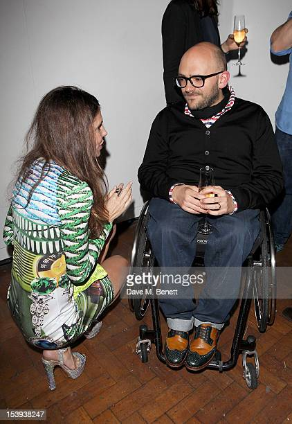 Founder of the Emdash Foundation Andrea Dibelius and artist Ryan Gander attend a private dinner hosted by Matthew Slotover and Amanda Sharp to...
