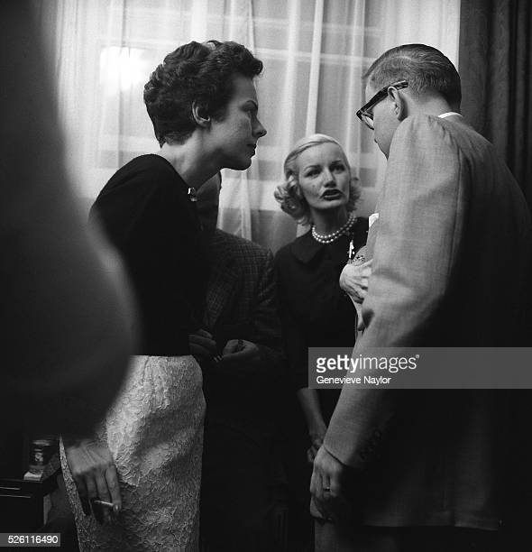 Founder of the Ford Modeling agency Eileen Ford with model Sunny Hartnett and unidentified man photographed on assignment for McCall's magazine