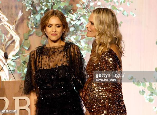 Founder of The Honest Company Jessica Alba and model Molly Sims speak onstage during the Fifth Annual Baby2Baby Gala Presented By John Paul Mitchell...